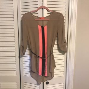 Sheer Belted Button Up Blouse